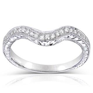 Annello 14k Gold 1/8 ct TDW Ladies Contoured Diamond Wedding Band (G-H, I1-I2)