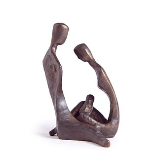 4.25-inch Couple with Baby Bronze Sculpture
