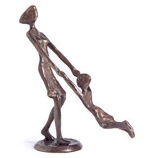 Mother Playing and Swinging Child Bronze Sculpture