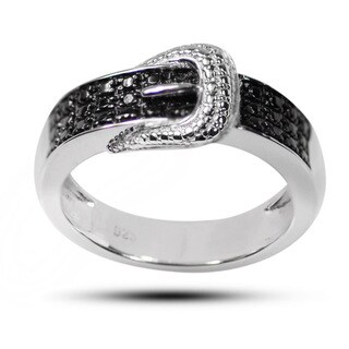 De Buman Sterling Silver Black Diamond Accent Buckle Ring