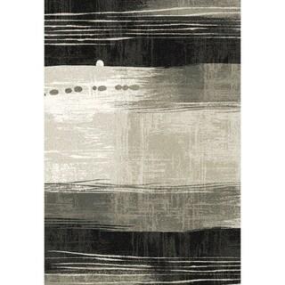 Eternity Waves Silver/ Black Rug (5'3 x 7'7)