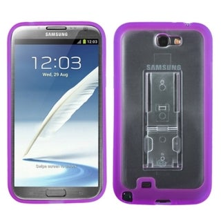 INSTEN Clear/ Purple Gummy Phone Case Cover for Samsung Galaxy Note 2 T889/ I605