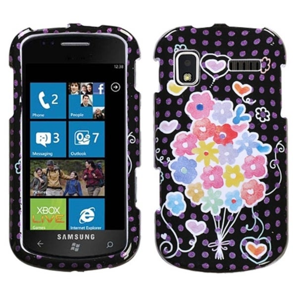 INSTEN Flower Balloon Sparkle Protector Phone Case Cover for Samsung Focus I917