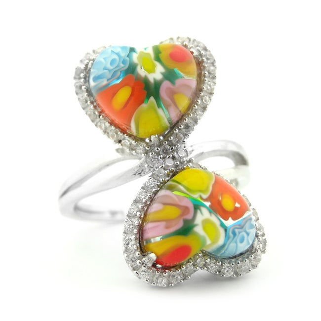 Plutus Sterling Silver Millefiori Glass and CZ Heart Ring