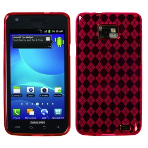 INSTEN Red Argyle Pane Candy Skin Phone Case Cover for Samsung Galaxy S2 I777