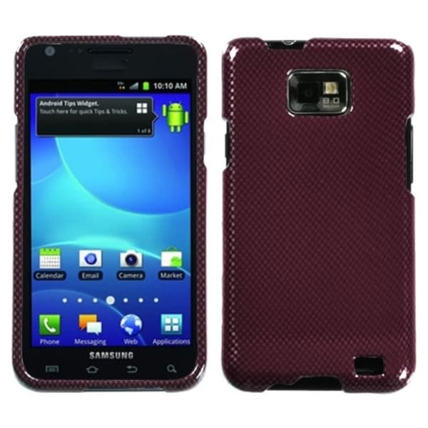 INSTEN Red Carbon Fiber Protector Phone Case Cover for Samsung Galaxy S2 I777