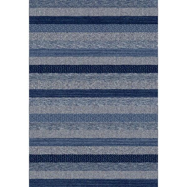 Eternity Striped Blue Rug (6'7 x 9'6)