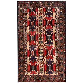 Herat Oriental Afghan Hand-knotted Tribal Balouchi Wool Rug (3'8 x 6'1)