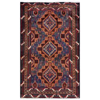 Herat Oriental Afghan Hand-knotted Tribal Balouchi Wool Rug (3'11 x 6'3)