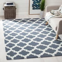 Safavieh Handwoven Transitional Moroccan Reversible Dhurrie Blue Wool Rug - 6' x 9'