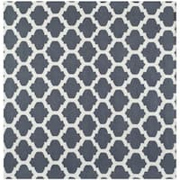 Safavieh Hand-woven Moroccan Reversible Dhurrie Blue Wool Rug (7' Square)