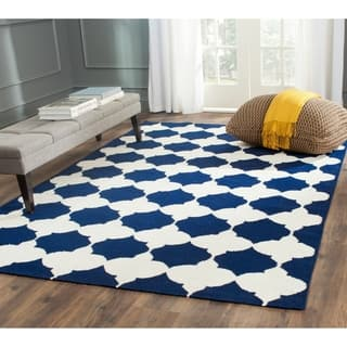 Safavieh Hand-woven Moroccan Reversible Dhurrie Navy Wool Rug (9' x 12')|https://ak1.ostkcdn.com/images/products/8180036/P15517398.jpg?impolicy=medium