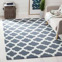 Safavieh Hand-woven Moroccan Reversible Dhurrie Blue Wool Rug - 9' x 12'
