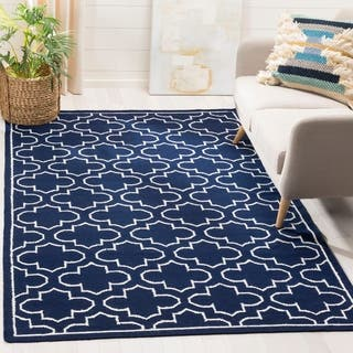 Safavieh Hand-woven Moroccan Reversible Dhurrie Navy Wool Rug (9' x 12')|https://ak1.ostkcdn.com/images/products/8180049/P15517412.jpg?impolicy=medium