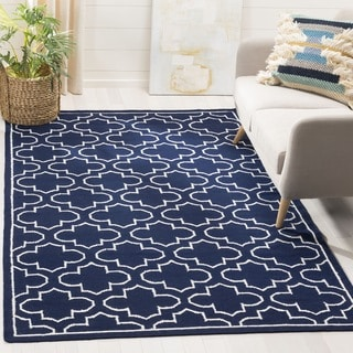 Safavieh Hand-woven Moroccan Reversible Dhurrie Navy Wool Rug (7' Square)