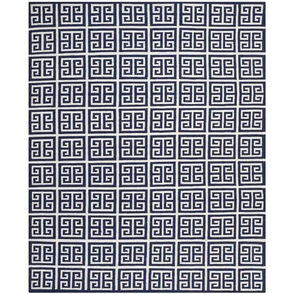 Safavieh Hand-woven Moroccan Reversible Dhurrie Navy Wool Rug - 8' x 10'