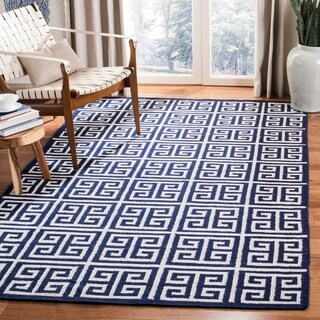 Safavieh Hand-woven Moroccan Reversible Dhurrie Navy Wool Rug (9' x 12')|https://ak1.ostkcdn.com/images/products/8180052/P15517415.jpg?_ostk_perf_=percv&impolicy=medium
