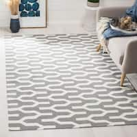Safavieh Hand-woven Moroccan Reversible Dhurrie Silver Wool Rug - 6' x 9'