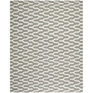 Safavieh Hand-woven Moroccan Reversible Dhurrie Silver Wool Rug (9' x 12')