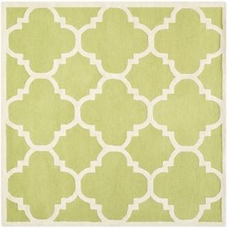 Safavieh Handmade Moroccan Cambridge Green/ Ivory Wool Rug (8' Square)