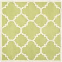 Safavieh Handmade Moroccan Cambridge Green/ Ivory Wool Rug - 6' Square