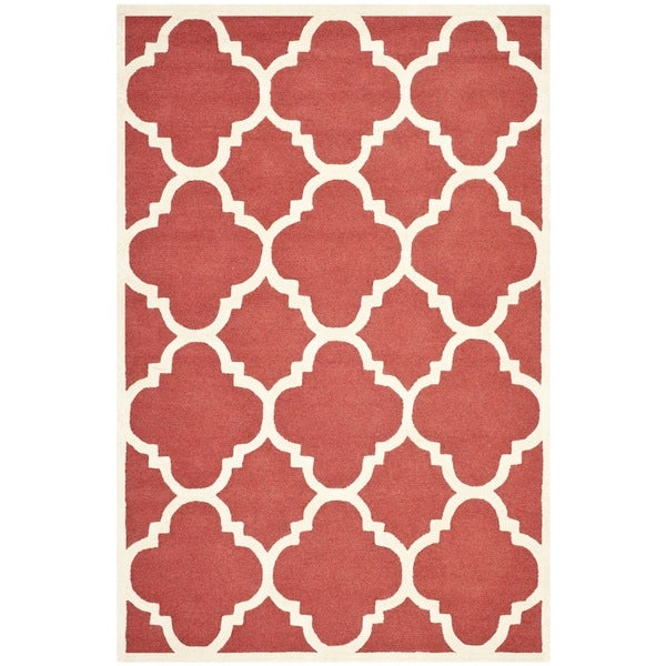 Safavieh Handmade Moroccan Cambridge Rust/ Ivory Wool Rug (5' x 8')