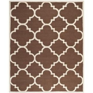 Safavieh Handmade Moroccan Cambridge Dark Brown/ Ivory Wool Rug (9' x 12')