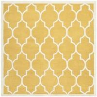 Safavieh Handmade Moroccan Cambridge Gold/ Ivory Wool Rug - 8' Square