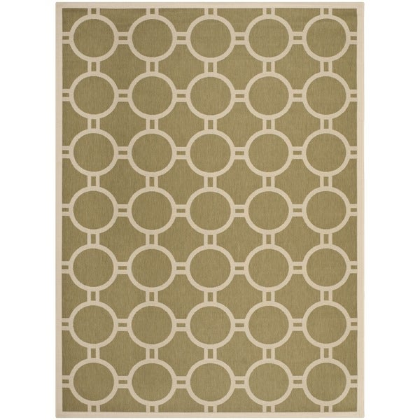 Safavieh Indoor/ Outdoor Courtyard Circles-pattern Green/ Beige Rug - 8' x 11'