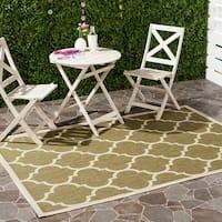 Safavieh Courtyard Moroccan Pattern Green/ Beige Indoor/ Outdoor Rug - 8' X 11'