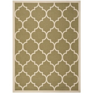 Safavieh Courtyard Moroccan Pattern Green/ Beige Indoor/ Outdoor Rug (8' x 11')