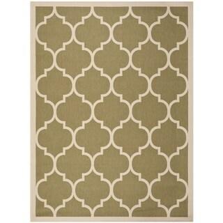Safavieh Indoor/ Outdoor Courtyard Geometric-pattern Green/ Beige Rug (8' x 11')
