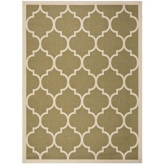 """Safavieh Courtyard Moroccan Pattern Green/ Beige Indoor/ Outdoor Rug (5'3"""" x 7'7"""")"""