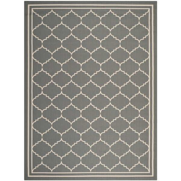 Safavieh Courtyard Transitional Grey/ Beige Indoor/ Outdoor Rug - 8' x 11'