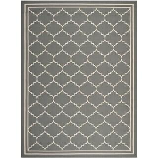 Safavieh Courtyard Transitional Grey/ Beige Indoor/ Outdoor Rug (6'7 x 9'6)