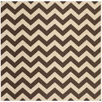 Safavieh Courtyard Chevron Dark Brown Indoor/ Outdoor Rug - 7'10 Square