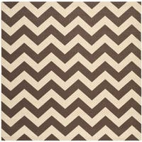 "Safavieh Courtyard Chevron Dark Brown Indoor/ Outdoor Rug - 5'3"" x 5'3"" square"
