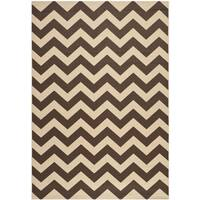 Safavieh Courtyard Chevron Dark Brown Indoor/ Outdoor Rug - 4' x 5'7""