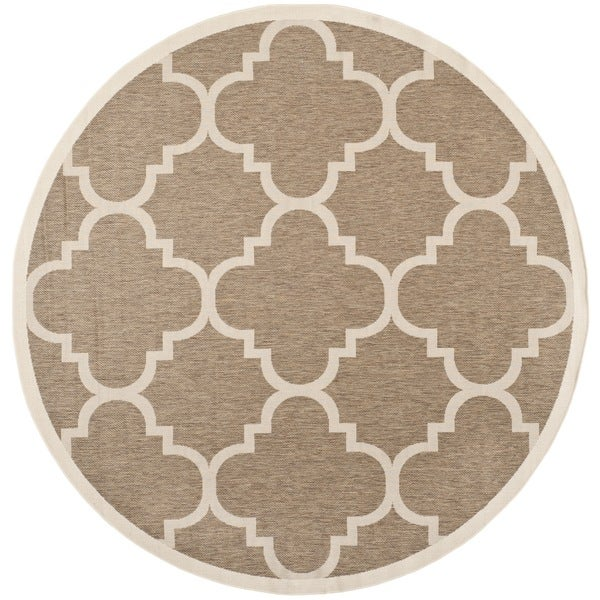 Safavieh Courtyard Quatrefoil Brown Indoor Outdoor Rug 5