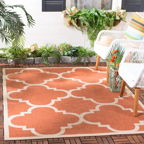 Safavieh Courtyard Quatrefoil Terracotta Indoor/ Outdoor Rug - 9' x 12'