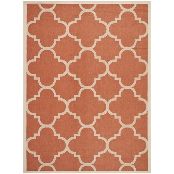 Safavieh Courtyard Quatrefoil Terracotta Indoor/ Outdoor Rug - 8' x 11'