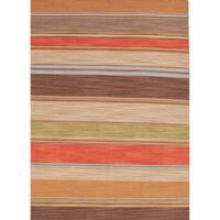 Atacama Handmade Stripe Brown/ Coral Area Rug - 5' x 8'