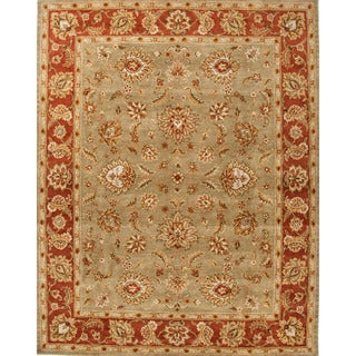 Della Handmade Floral Taupe/ Red Area Rug (4' X 8')