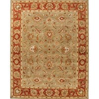 Della Handmade Floral Taupe/ Red Area Rug - 4' X 8'