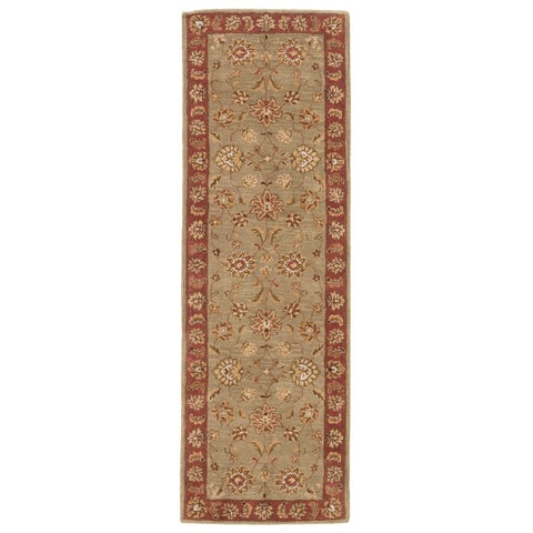 Della Handmade Floral Taupe/ Red Area Rug (4' X 16') - 4' x 16'