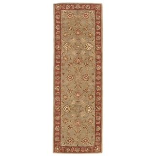 Hand-tufted Traditional Oriental Pattern Green Rug (4' x 16')