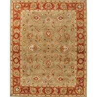Della Handmade Floral Taupe/ Red Area Rug (4' X 6') - 4' x 6'