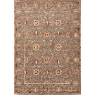 Hand-tufted Traditional Oriental Pattern Green Area Rug (5' x 8')