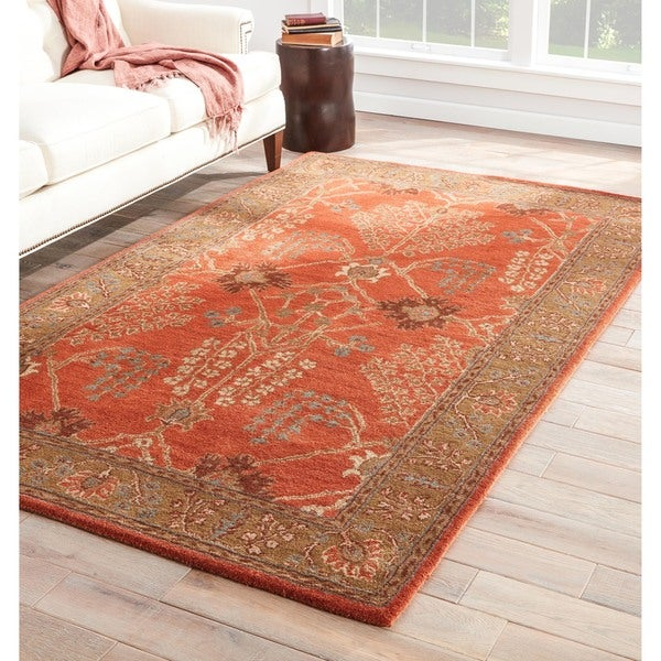 Hand Tufted Agra Red Gold Wool Rug 8 Round: Hand-tufted Transitional Oriental Pattern Red/ Orange Rug