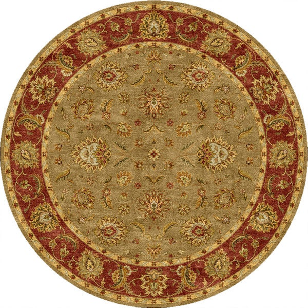 Della Handmade Floral Taupe/ Red Area Rug (8' X 8')